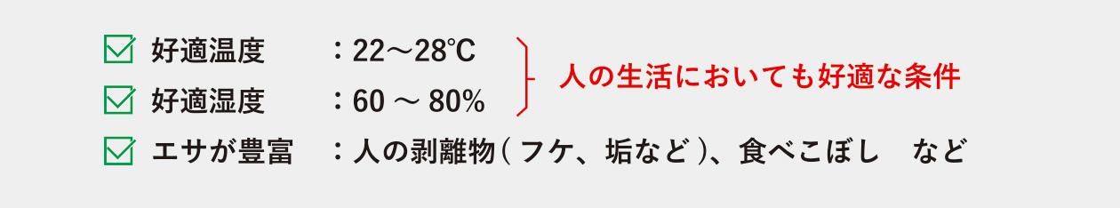 好適温度 22~88度 好適湿度 60~80% エサが豊富 人の剥離物(フケ、垢など)、食べこぼしなど